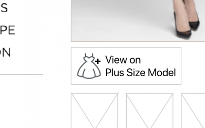 close-up of button to show dress on plus size model